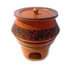 Ceramic Handi Chafing Dish Floral Design Terracotta Colour