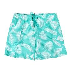 100 Coc Republic O Mens Palm Print Board Shorts In Sea Green