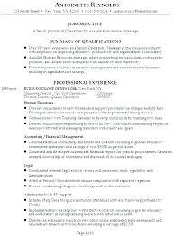 Health Insurance Resume Agent Sample Job Description For Plus Objective Examples