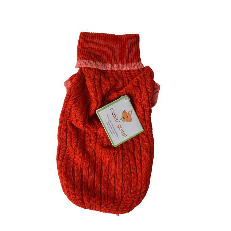 Fashion Pet Classic Small Cable Dog Sweater Red