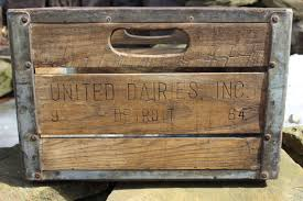 Vintage United Dairy Inc Detroit Wooden Milk Crate