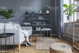 moderne nordische wohnzimmer mit sofa design mit eleganten decke couchtisch stilvolle accessoires und buchständer an der grauen wand braune