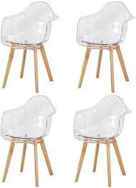 dorafair 4er set stuhl transparenter armlehnstuhl skandinavisch moderner esszimmerstuhl bürostuhl wohnzimmer stuhl mit solide buchenholz bein