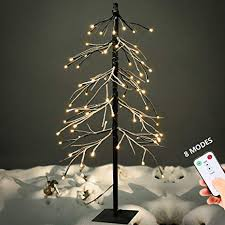 YUNLIGHTS 5ft Snow Dusted Tree Lights 75 LED Light Artificial With Remote Control 8 Modes