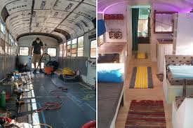 Skoolie Conversion Floor Plan by See Inside The Bus That A Father And Son Converted Into A