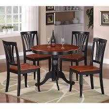 5piece Round Black And Cherry Kitchen Table Set 5 Piece Dining Set