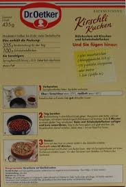 dr oetker kirschli kuchen backmischung 435g