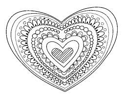 Printable Hearts Coloring Pages Valentines Day Blank Page Heart For Adults