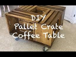 diy pallet wood crate coffee table w metal wheels youtube