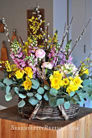 Spring Flower Basket Easter Table Centerpiece