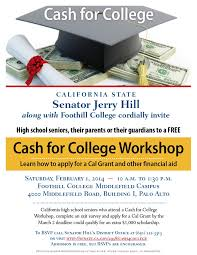 free cash for college workshop senator jerry hill