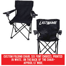 VictoryStore Outdoor Camping Chair - Custom Last Name Folding Chair- Black  Camping Chair With Carry Bag