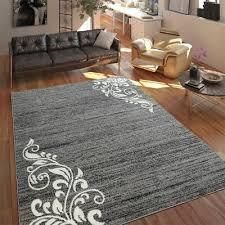 teppich wohnzimmer modern kurzflor mehrfarbig muster floral ornament grau ebay
