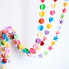 Colored Paper Heart Butterfly Pentagram Garland Bunting Wedding Baby Shower Birthday Party Festival DIY Decoration Banner In Banners Streamers Confetti