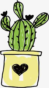 pot de fleur de cactus de dessins animés dessinés à la
