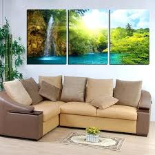 Large Green Wall Art Canvas 3 Panel Waterfall Painting Landscape