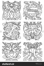 Celtic Animal Knot Ornaments Of Mythical Dragons Or Beasts With Curved Wings And Tails Arranged