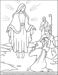 The 4th Glorious Mystery Coloring Page Assumption Mary Is Taken Up Into Heaven