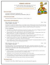 Sample Resume Template For Elementary Education Teacher 1 Page