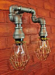 Pipe Lighting Brass Cages Wall Art Steampunk Industrial Farmhouse