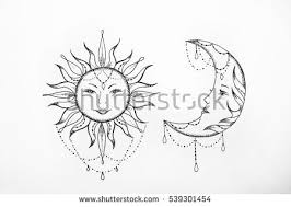 Sketch Of The Sun And Moon A White Background