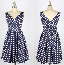 50s polka whitedots navy blue swing cotton dress 82304 82304