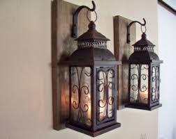 Lantern Pair Wall Decor 2 Sconces Housewarming Gift Bathroom