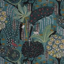 schöner leben vorhang wald tiere petrol schwarz grün gelb 245cm oder wunschlänge