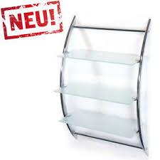 details zu modernes hängeregal badregal glasregal wandregal mit 3 ablagen glas 45x28x70cm