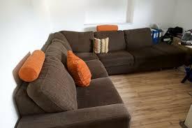 wohnzimmer schlafcouch sofa braun orange