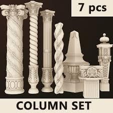 Columns 7 Set 3d Dxf Pillar In 2019 Tv Wall Design