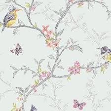 Birds And Branches Shabby Chic Wallpaper Teal