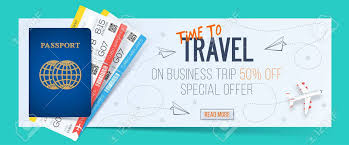 Special Offer On Business Travel Trip Banner Passport With Tickets Air