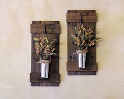 Rustic Wall Decor Wooden Plant Holder Set Sconces Home