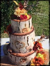 Rustic Birch Log Wedding Cake On Central