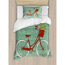 Christmas Twin Size Duvet Cover Set Hand Drawn Vintage Bike With Small Xmas Tree House Silhouettes