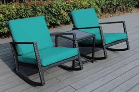 Ohana Patio Wicker Outdoor 3-Piece Rocking Bistro Set- Two Chairs ...