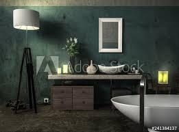 antikes badezimmer mit grüner wand und badewanne stock