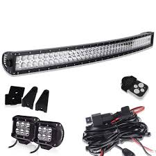 TURBOSII 40 42In Curved Led Light Bar + 4In Pods Cube Fog Lights On ...