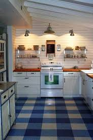 Blue Pattern Linoleum Tile Floor For Kitchen Flooring Full Size