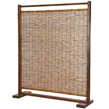 Rustic Style Wood And Reed Single Panel Privacy Screen Room Divider