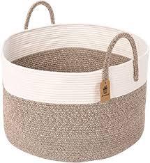 indressme groß wäschekorb geflochten aus baumwolle seil korb mit henkel aufbewahrung zur decken kissen im wohnzimmer d51 x h33 cm