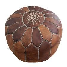 pouf design marocain en cuir naturel brun