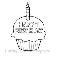 Happy Birthday Cupcake Coloring Pages