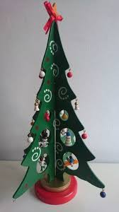 Rare Vintage Wooden Christmas Tree With Detailed Charms Mid Century Scandinavian Decoration