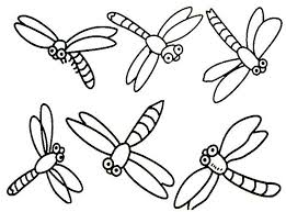 Six Simple Dragonflies Coloring Page