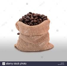 Coffee Beans In Bag With Clipping Path Selected Burlap On Clear Background