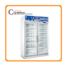 Double Door Beverage Display Cooler Drinks Fridge Supermarket Refrigerator Upright Freezer