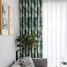 zyy home curtain 2 stücke isolierend pflanze monstera blickdicht gardinen drucken polyester baumwolle mit ösen schalldämmend moderner für schlafzimmer