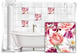 fliesen aufkleber fliesen bild kachel gemälde rosa pink bad wc deko küche